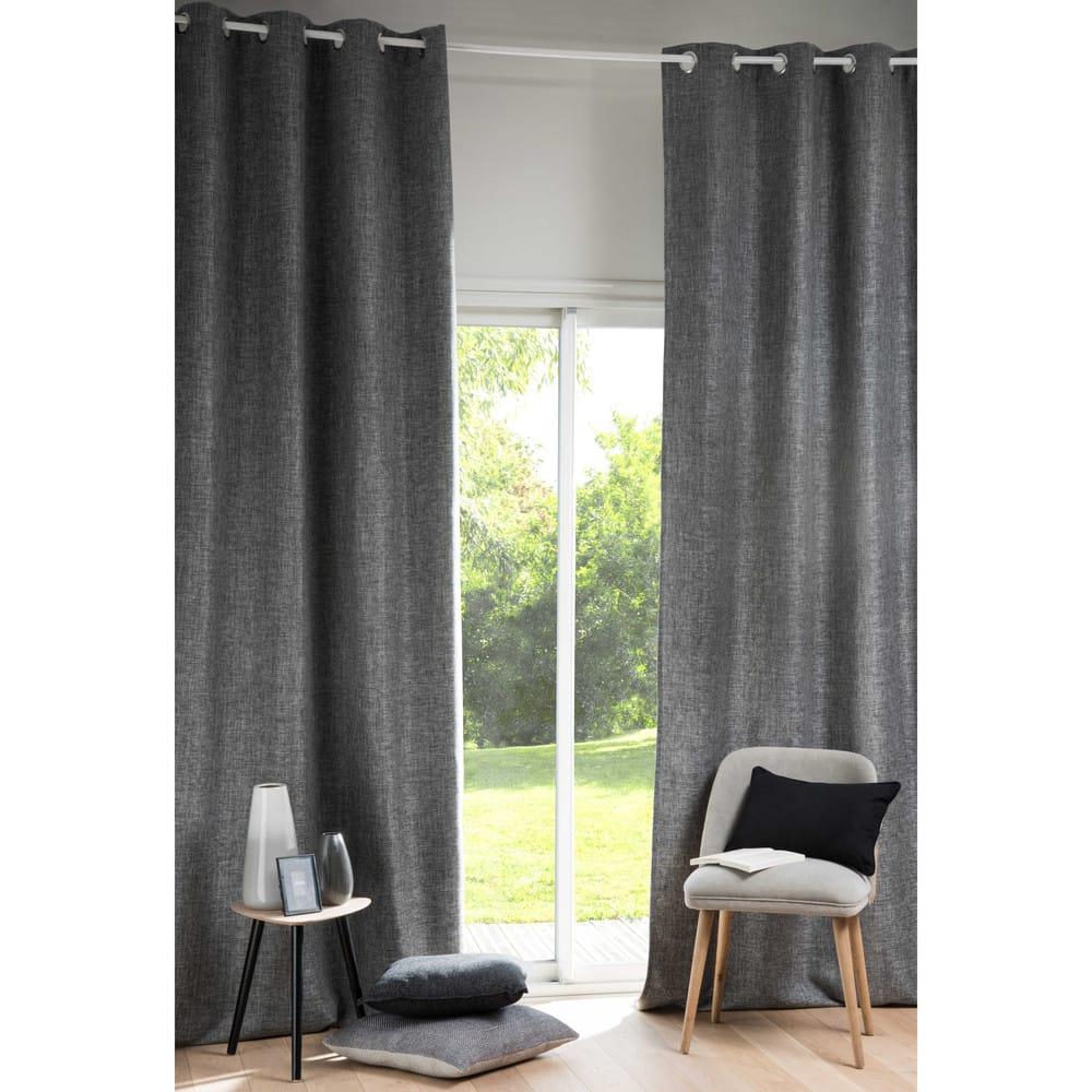 rideau illets gris anthracite l 39 unit 130x300 andy. Black Bedroom Furniture Sets. Home Design Ideas