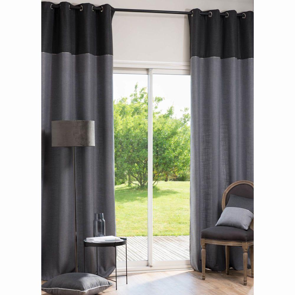 rideau illets gris clair et anthracite l 39 unit. Black Bedroom Furniture Sets. Home Design Ideas
