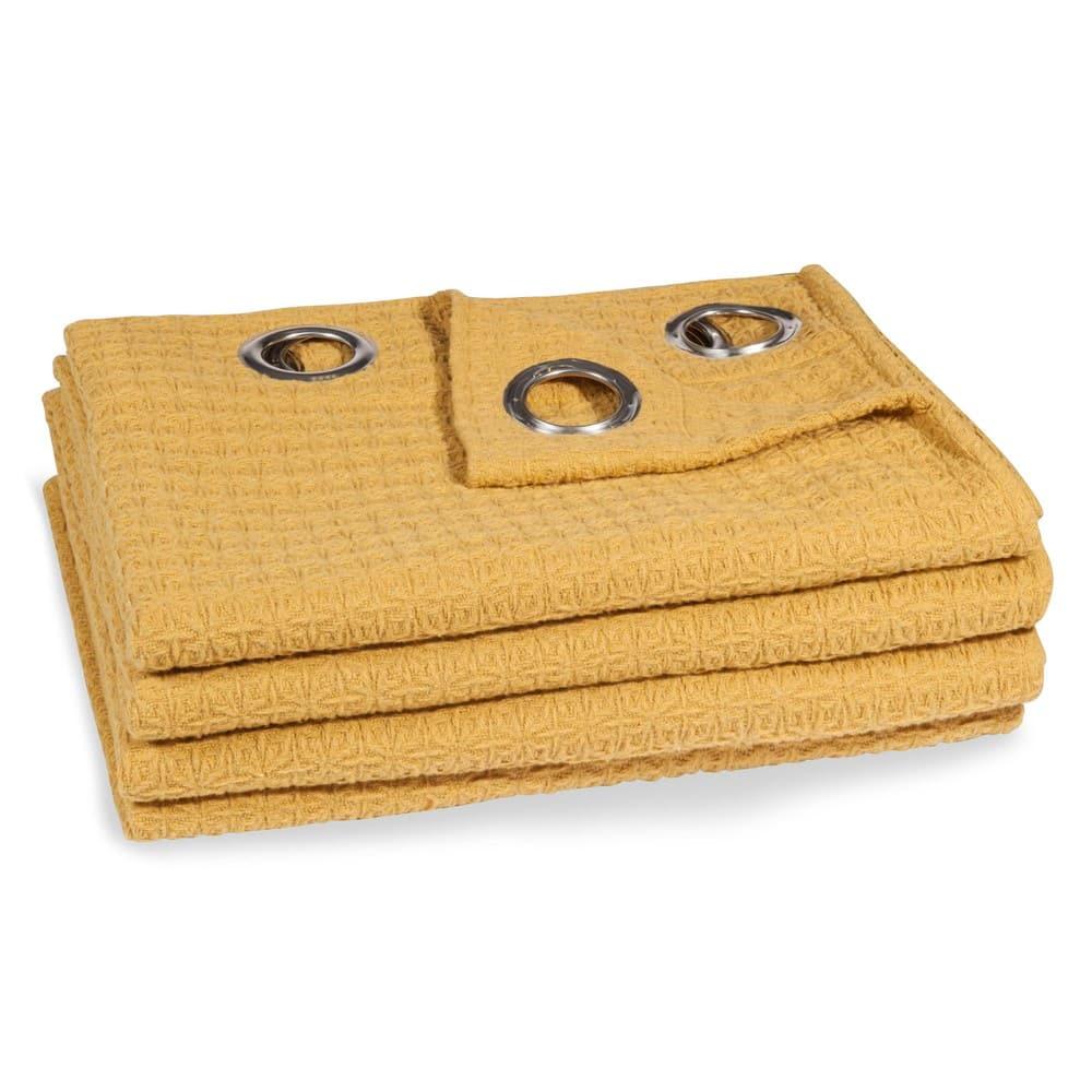 rideau oeillets jaune moutarde 140x250 yep maisons du. Black Bedroom Furniture Sets. Home Design Ideas