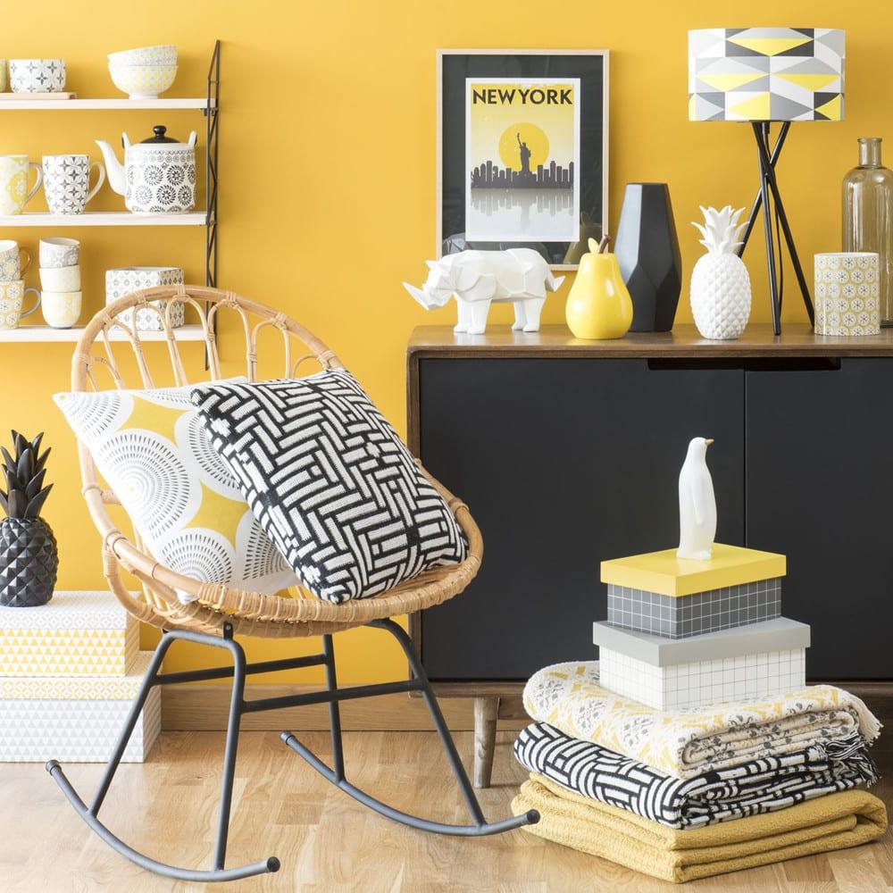rideau oeillets jaune moutarde l 39 unit 140x250 yep. Black Bedroom Furniture Sets. Home Design Ideas