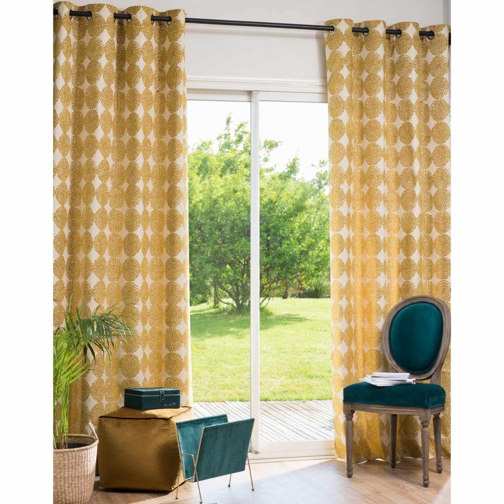 rideau illets jaune moutarde motifs l 39 unit 135x250. Black Bedroom Furniture Sets. Home Design Ideas
