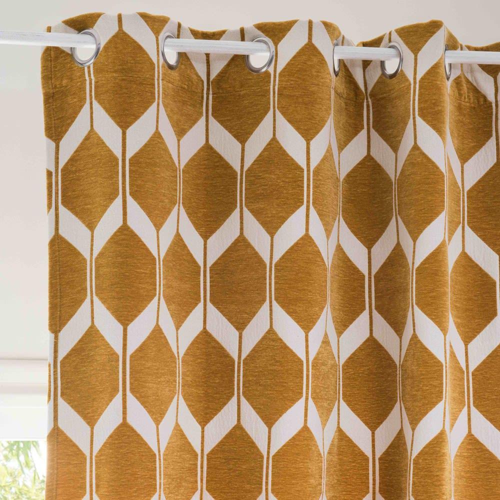 rideau illets jaune moutarde et blanc l 39 unit 140x300. Black Bedroom Furniture Sets. Home Design Ideas