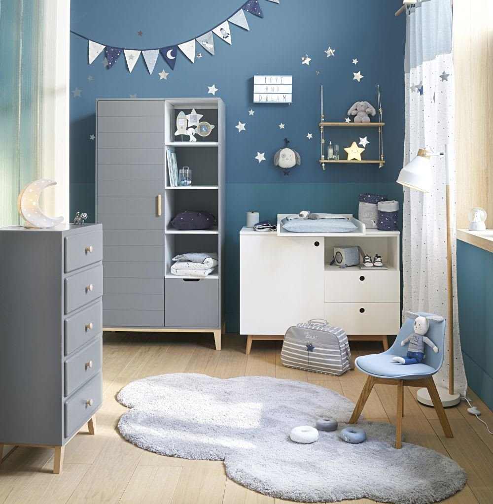 rideau passants en coton blanc et bleu imprim l 39 unit. Black Bedroom Furniture Sets. Home Design Ideas