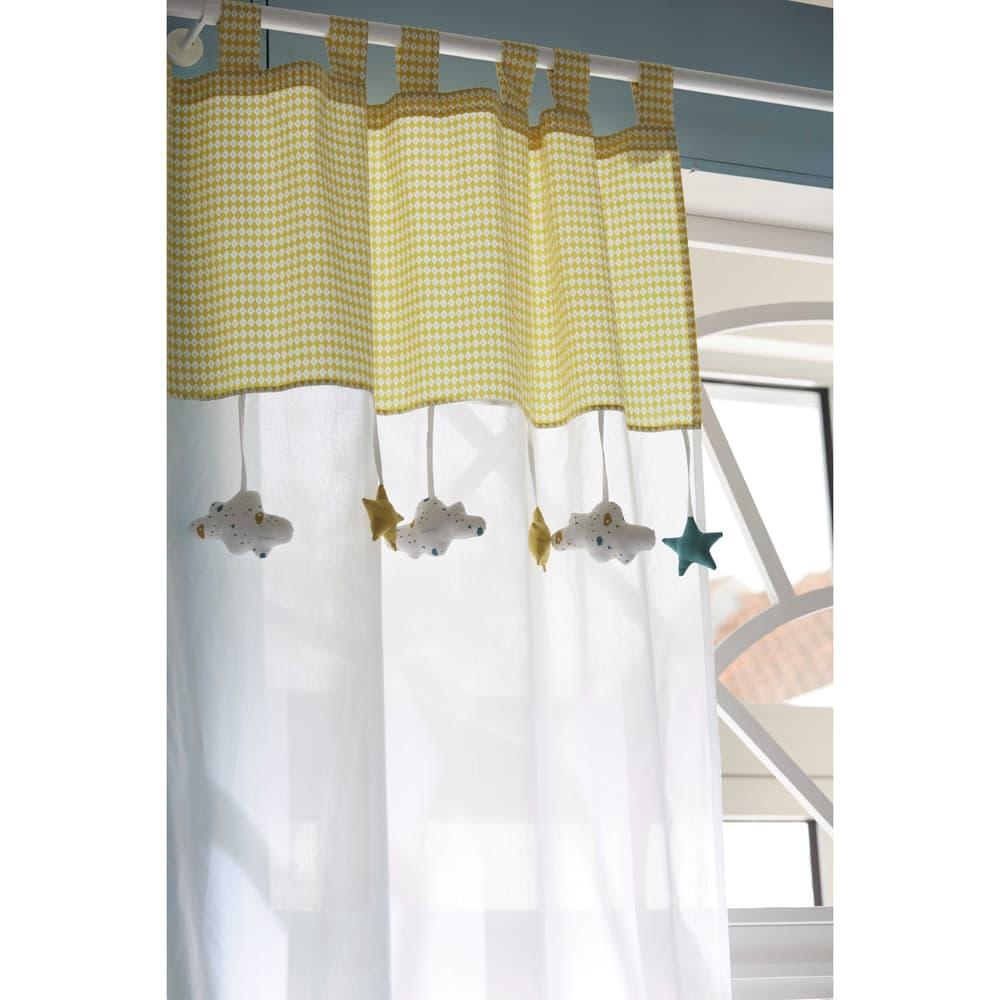 rideau passants en coton blanc et jaune 110x250 gaston. Black Bedroom Furniture Sets. Home Design Ideas