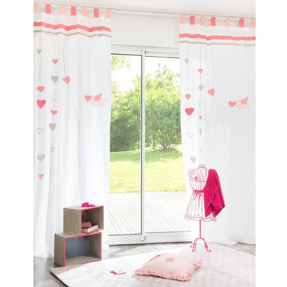 Rideau à Passants En Coton Blanc Et Rose 105x250 Iduna Maisons Du