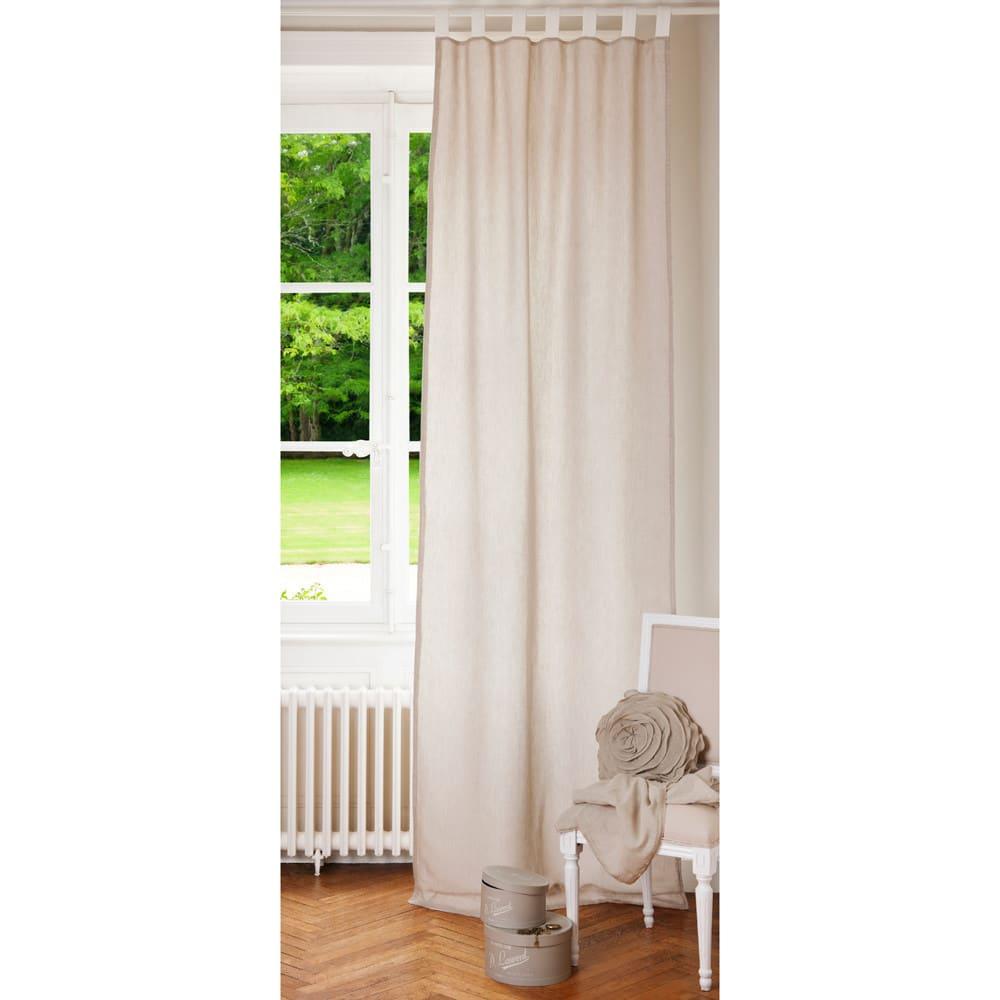 rideau passants en lin cru et blanc l 39 unit 105x300. Black Bedroom Furniture Sets. Home Design Ideas