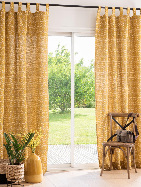 rideau passants jaune moutarde et cru l 39 unit 140x250. Black Bedroom Furniture Sets. Home Design Ideas