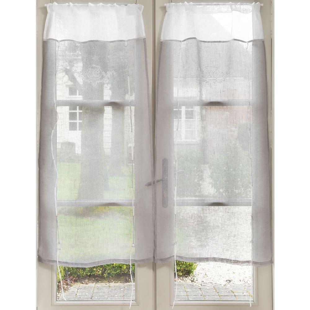 rideau court en lin gris brod 60x120 marquise maisons du monde