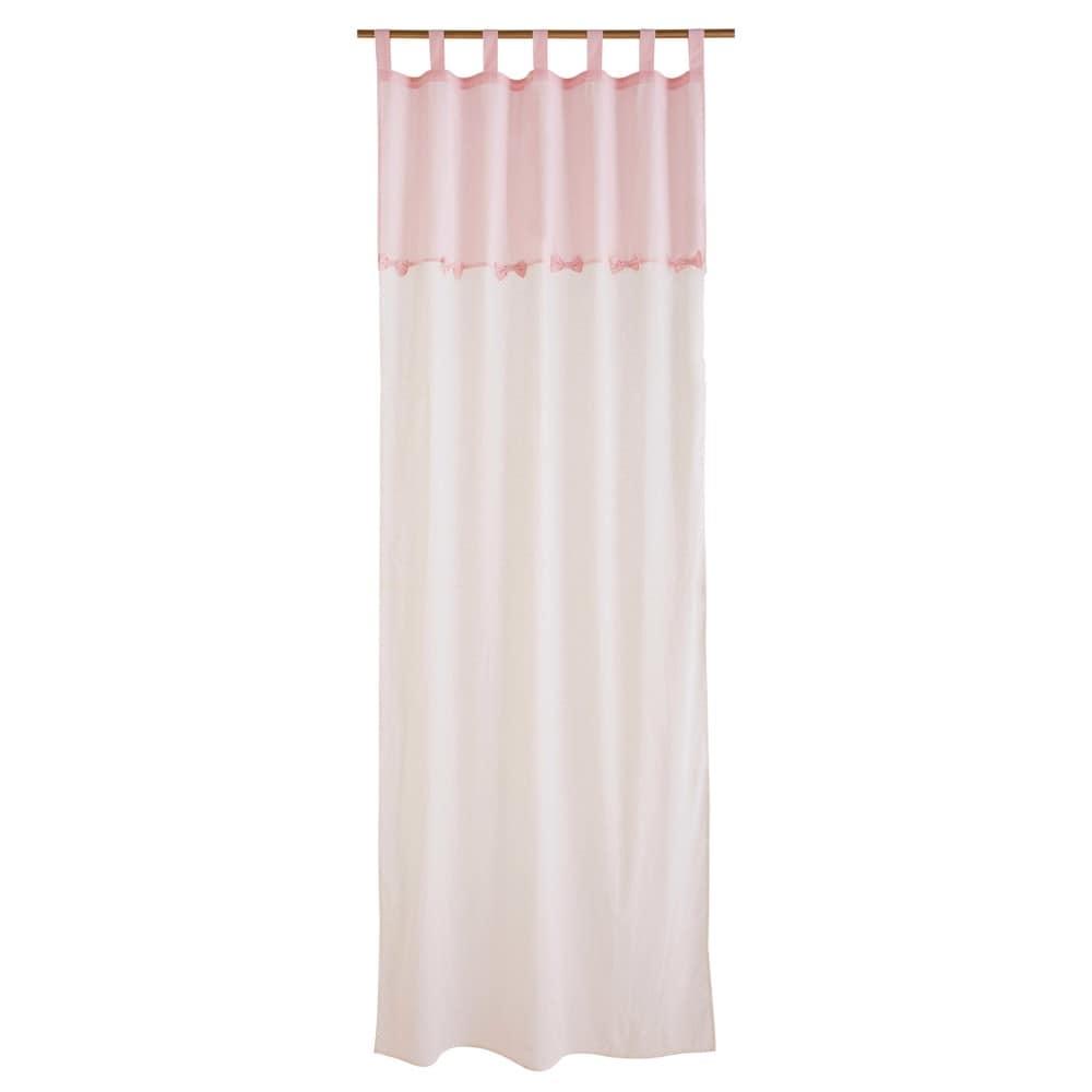 Rideau En Coton Blanc Et Rose 110x250 Capucine Maisons Du Monde