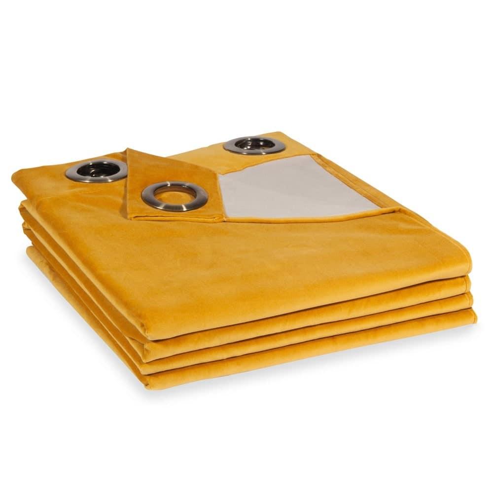 rideau en velours jaune moutarde 140x300 savora maisons. Black Bedroom Furniture Sets. Home Design Ideas