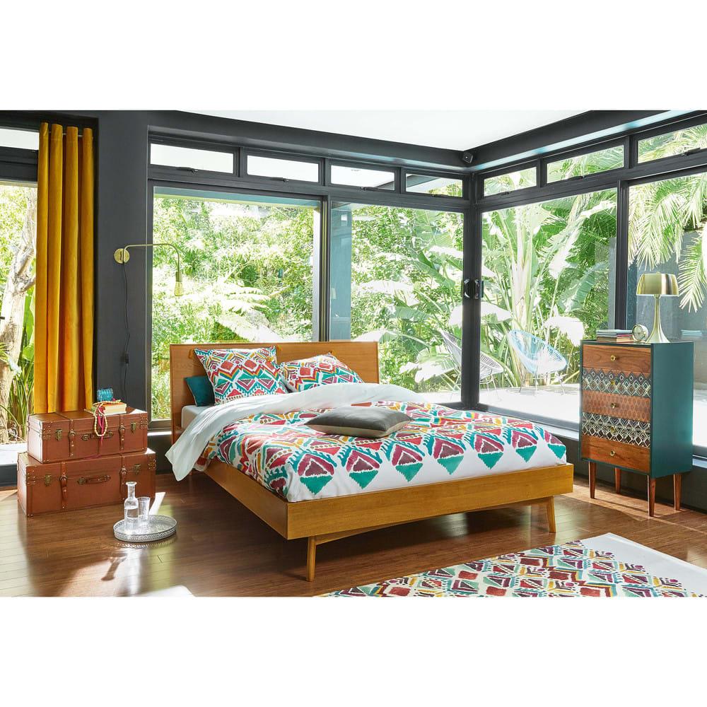 rideau en velours jaune moutarde l 39 unit 140x300 savora. Black Bedroom Furniture Sets. Home Design Ideas