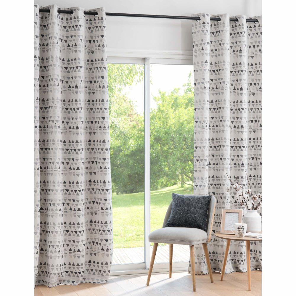 rideau tiss jacquard cru et gris anthracite 135x250. Black Bedroom Furniture Sets. Home Design Ideas