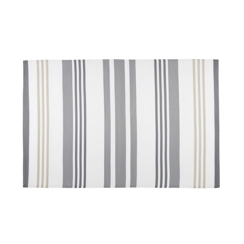Grey And White Striped Fabric Outdoor Rug 180x270 Rivage Maisons