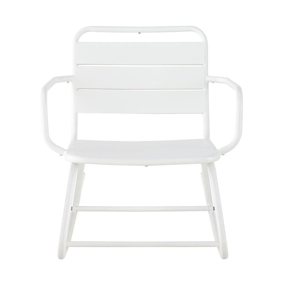 rocking chair d 39 ext rieur en m tal blanc batignolles. Black Bedroom Furniture Sets. Home Design Ideas