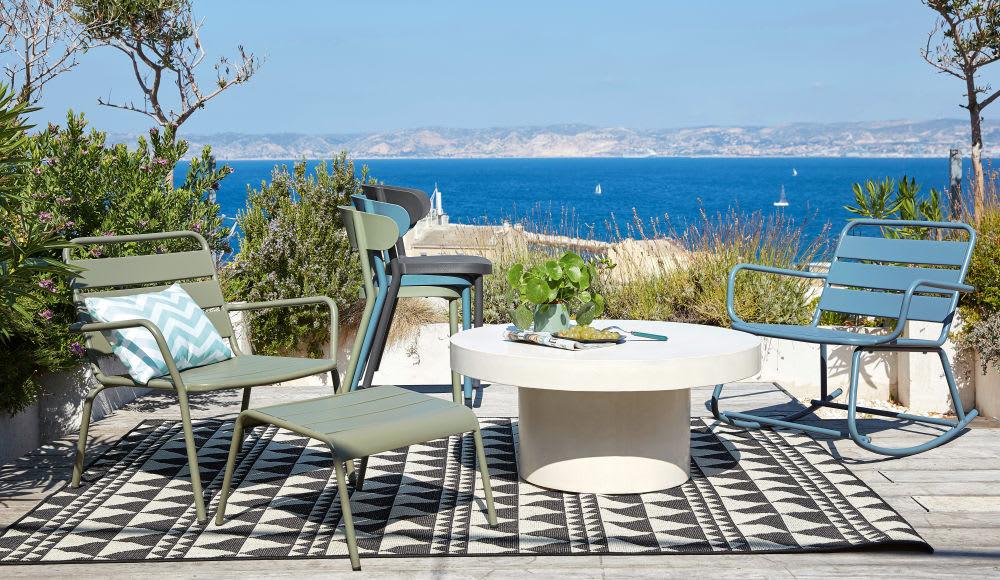rocking chair d 39 ext rieur en m tal bleu gris batignolles. Black Bedroom Furniture Sets. Home Design Ideas