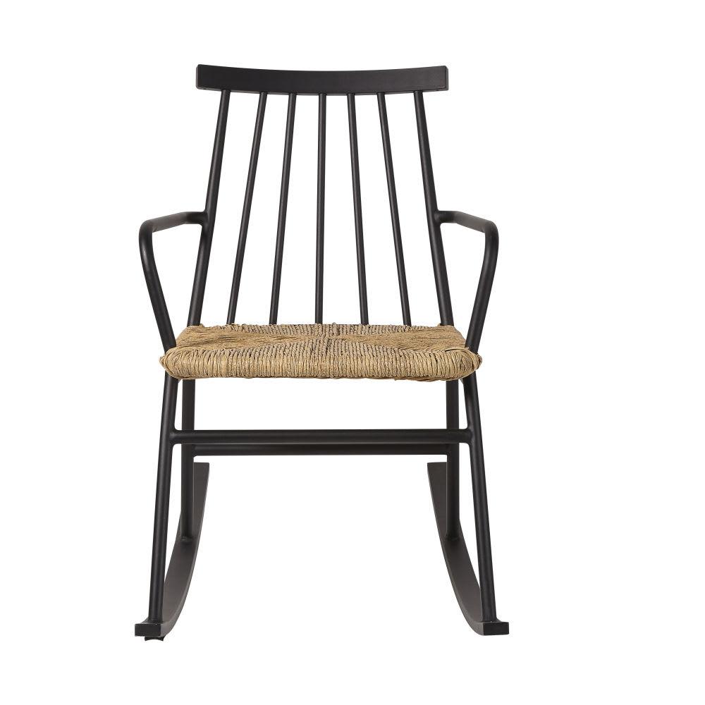 rocking chair d 39 ext rieur en r sine imitation rotin. Black Bedroom Furniture Sets. Home Design Ideas
