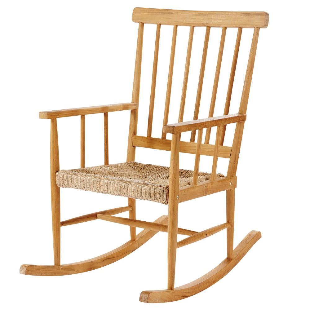 rocking chair en teck nutshell maisons du monde. Black Bedroom Furniture Sets. Home Design Ideas