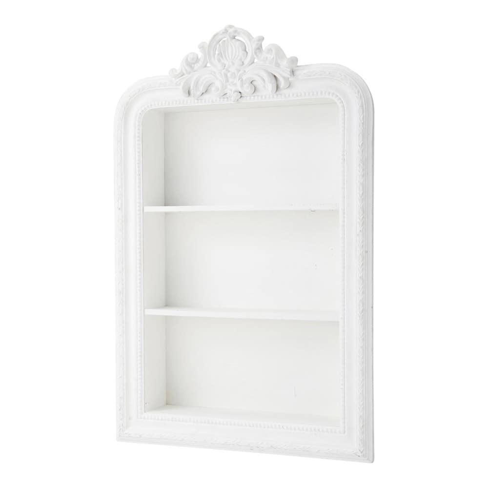 Merveilleux Carved Wooden Shelf Unit In White W 79cm Romantique
