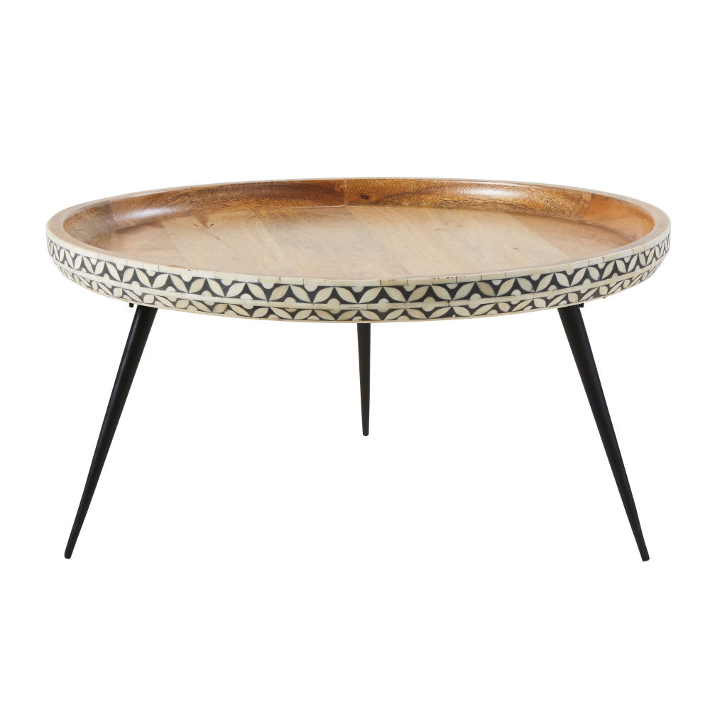 Solid Wood Curved Coffee Table: Round Black Metal And Carved Solid Mango Wood Coffee Table