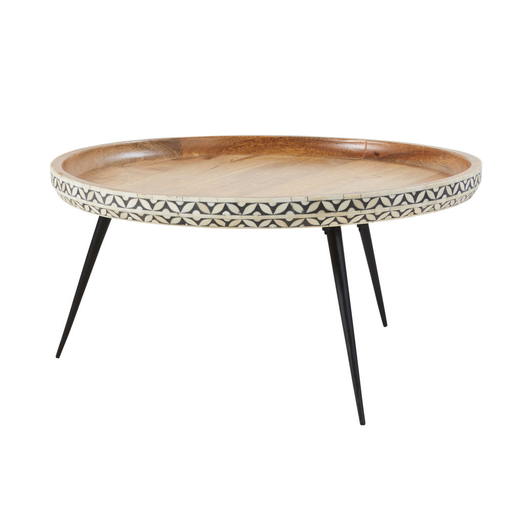 Round Black Metal And Carved Solid Mango Wood Coffee Table
