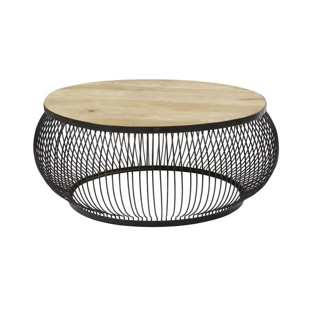 Black Solid Wood Coffee Table: Round Black Metal And Solid Mango Wood Coffee Table Juana