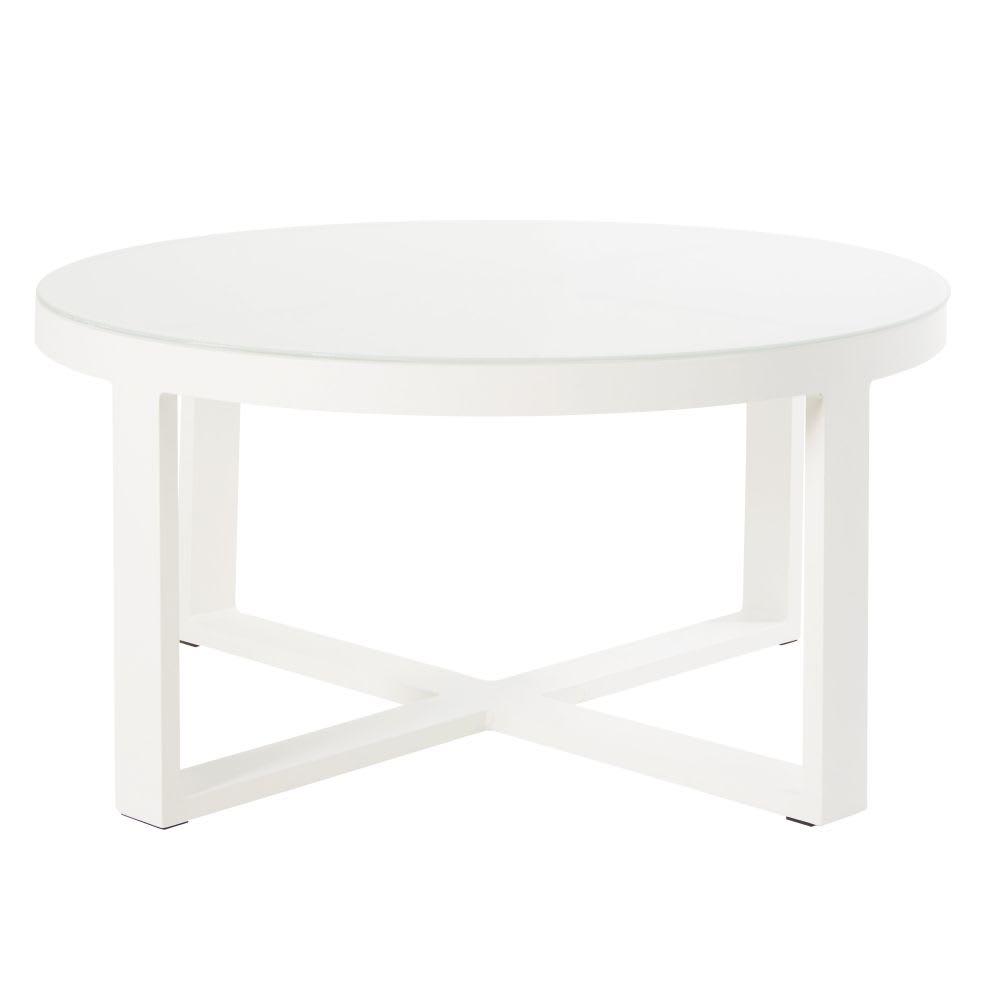 Round White Metal and Glass Garden Coffee Table Thetis ...