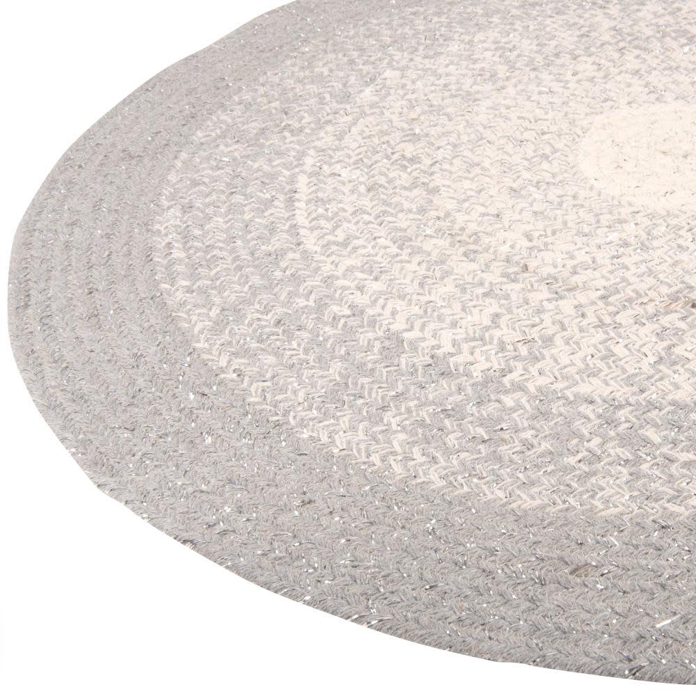 runder teppich aus baumwollgeflecht grau und silbern d90. Black Bedroom Furniture Sets. Home Design Ideas