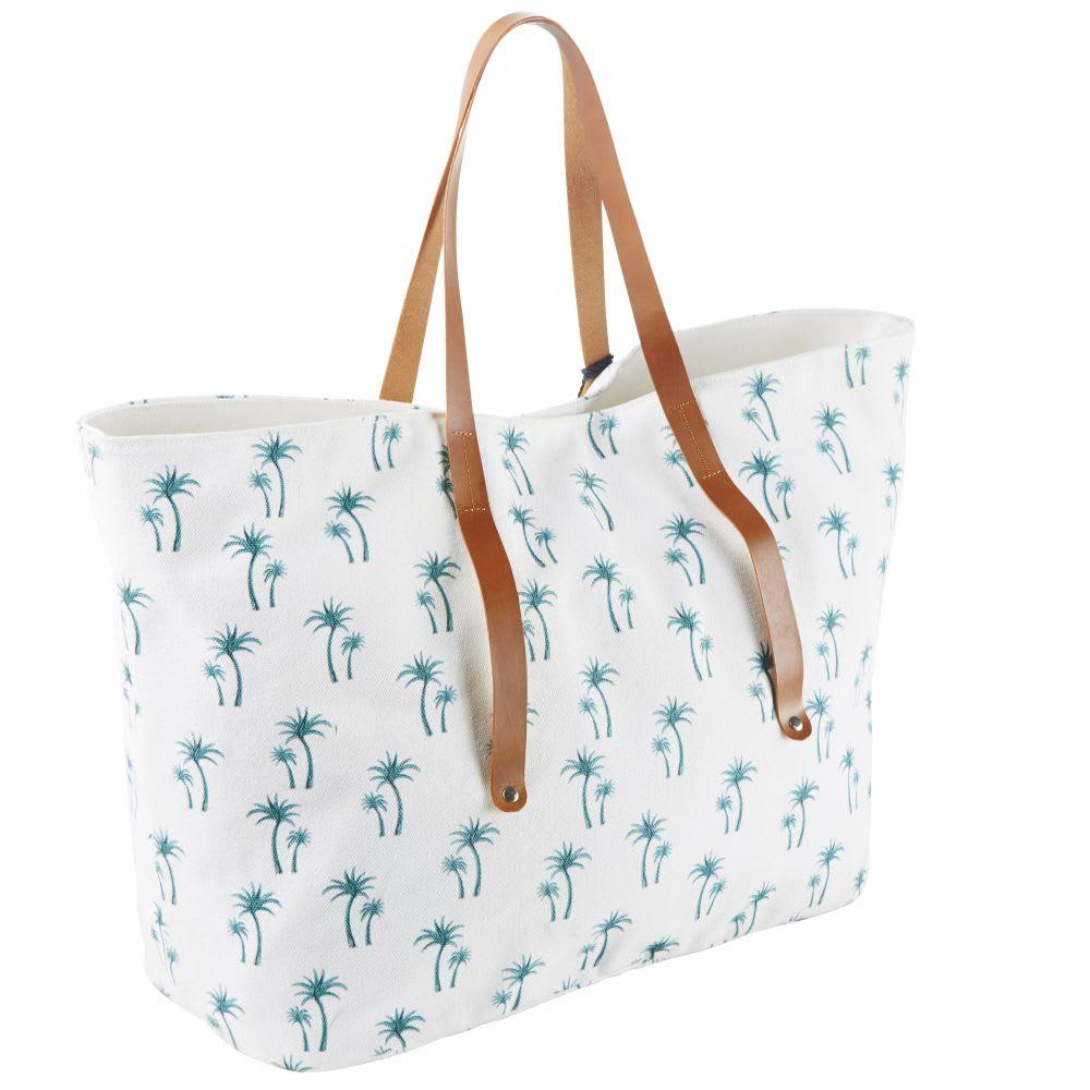 sac de plage en coton blanc imprim et anses en cuir. Black Bedroom Furniture Sets. Home Design Ideas