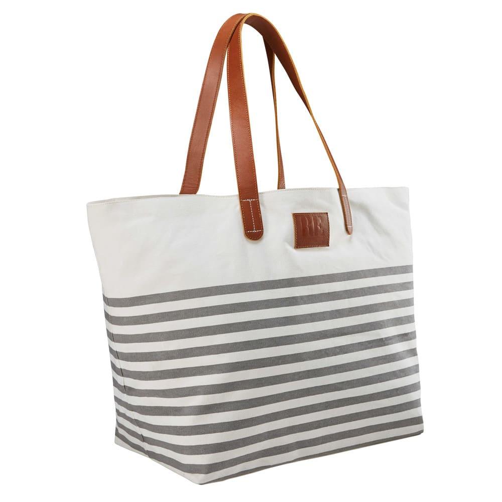 eaff7cf102 Sac de plage en coton rayé gris et blanc Rivage | Maisons du Monde