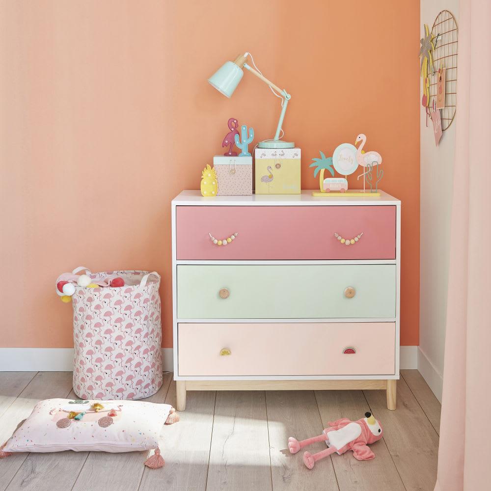 sac de rangement en coton motif flamant rose flamingo. Black Bedroom Furniture Sets. Home Design Ideas