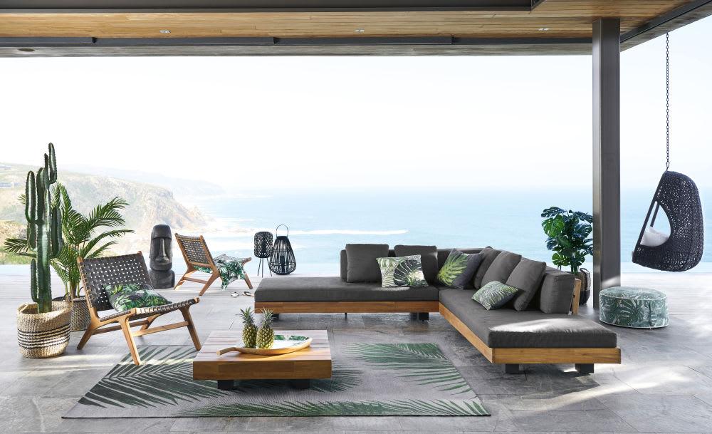 Salon de jardin 4/6 places en acacia massif et toile gris anthracite ...