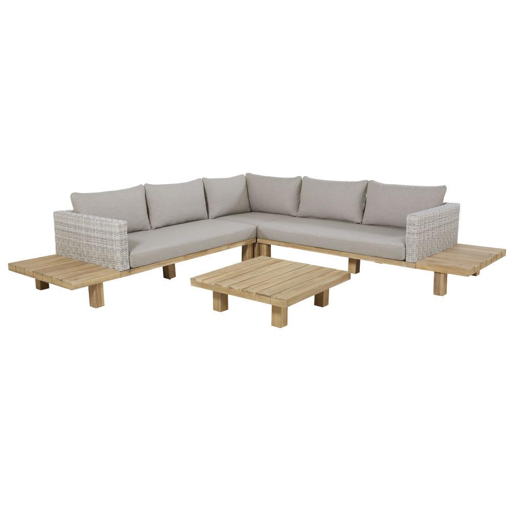 Salon de jardin 4/6 places en acacia massif et toile grise ...