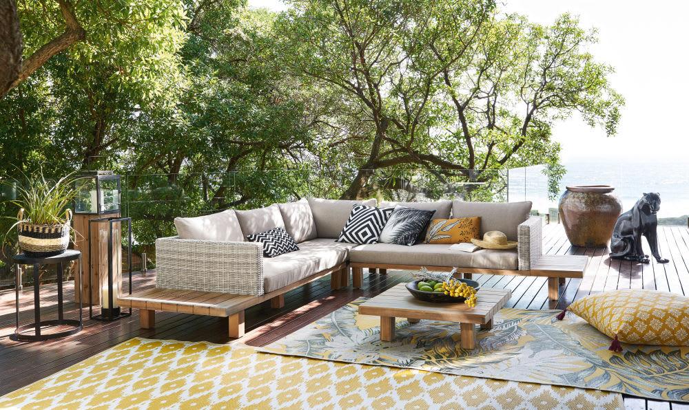 salon de jardin 4 6 places en acacia massif et toile grise. Black Bedroom Furniture Sets. Home Design Ideas