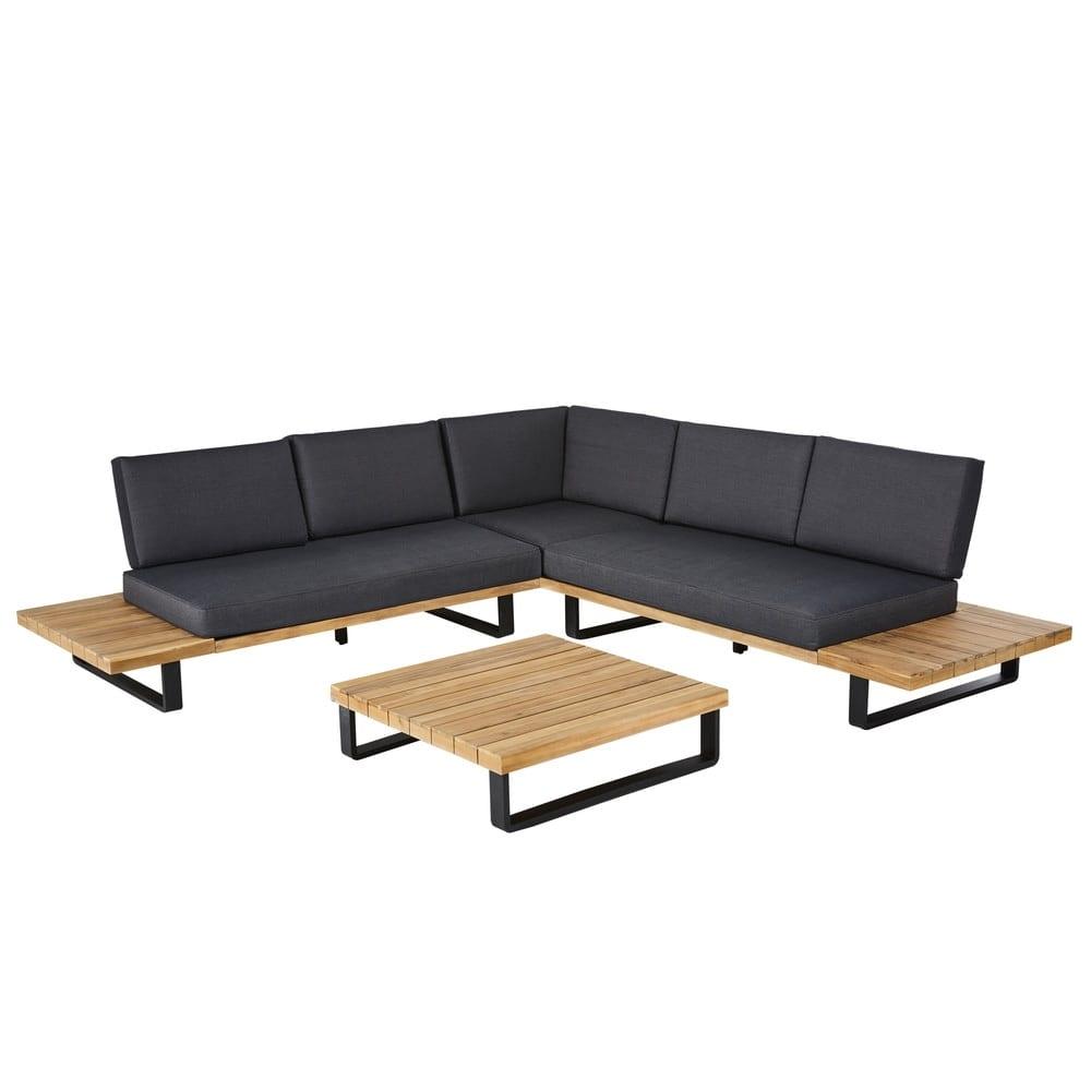 sal n de jard n de 4 5 plazas de aluminio y acacia maciza. Black Bedroom Furniture Sets. Home Design Ideas