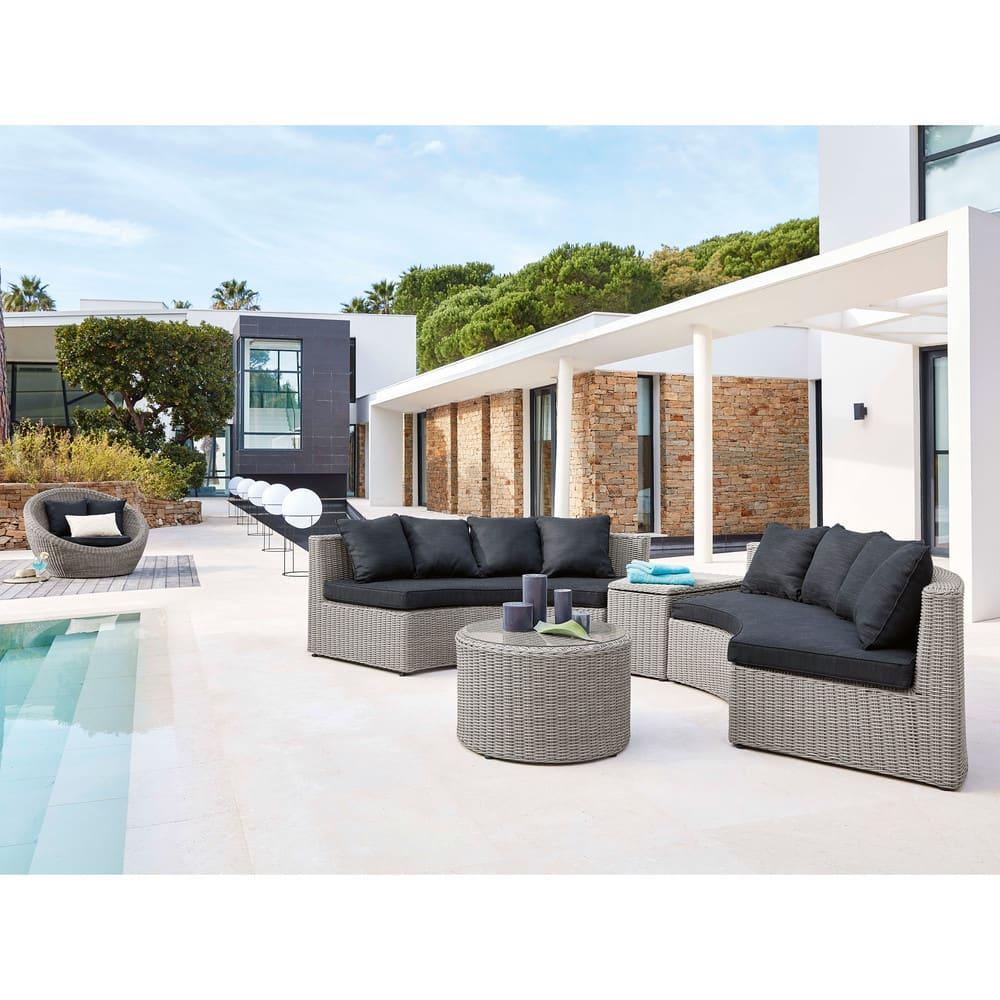 Salon de jardin rond en résine tressée grise Cape Town | Maisons du ...