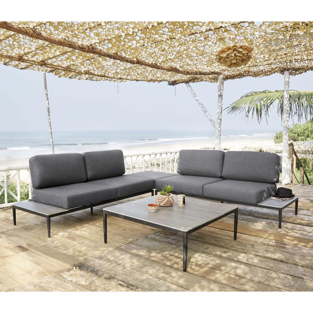 Salotto da giardino 6 posti in alluminio grigio chiaro san for Salotto per giardino