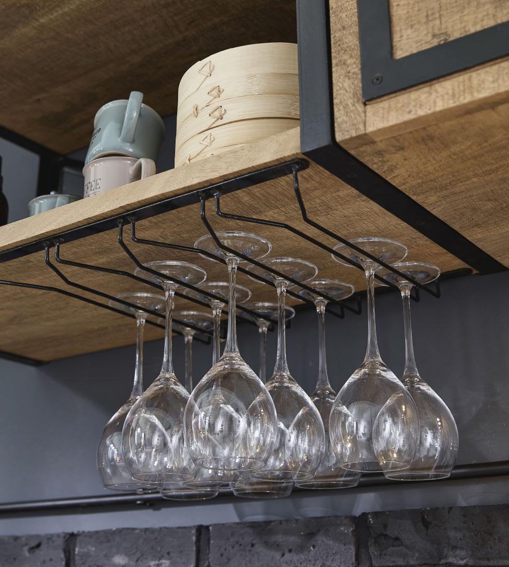 Scaffale da parete per cucina in metallo grigio e legno massello di ...