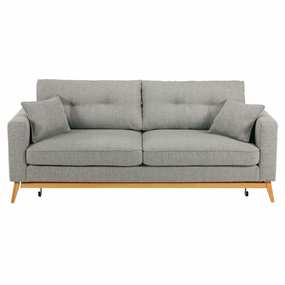 Scandinavian 3 Seater Light Grey Fabric Sofa Bed Brooke Maisons Du