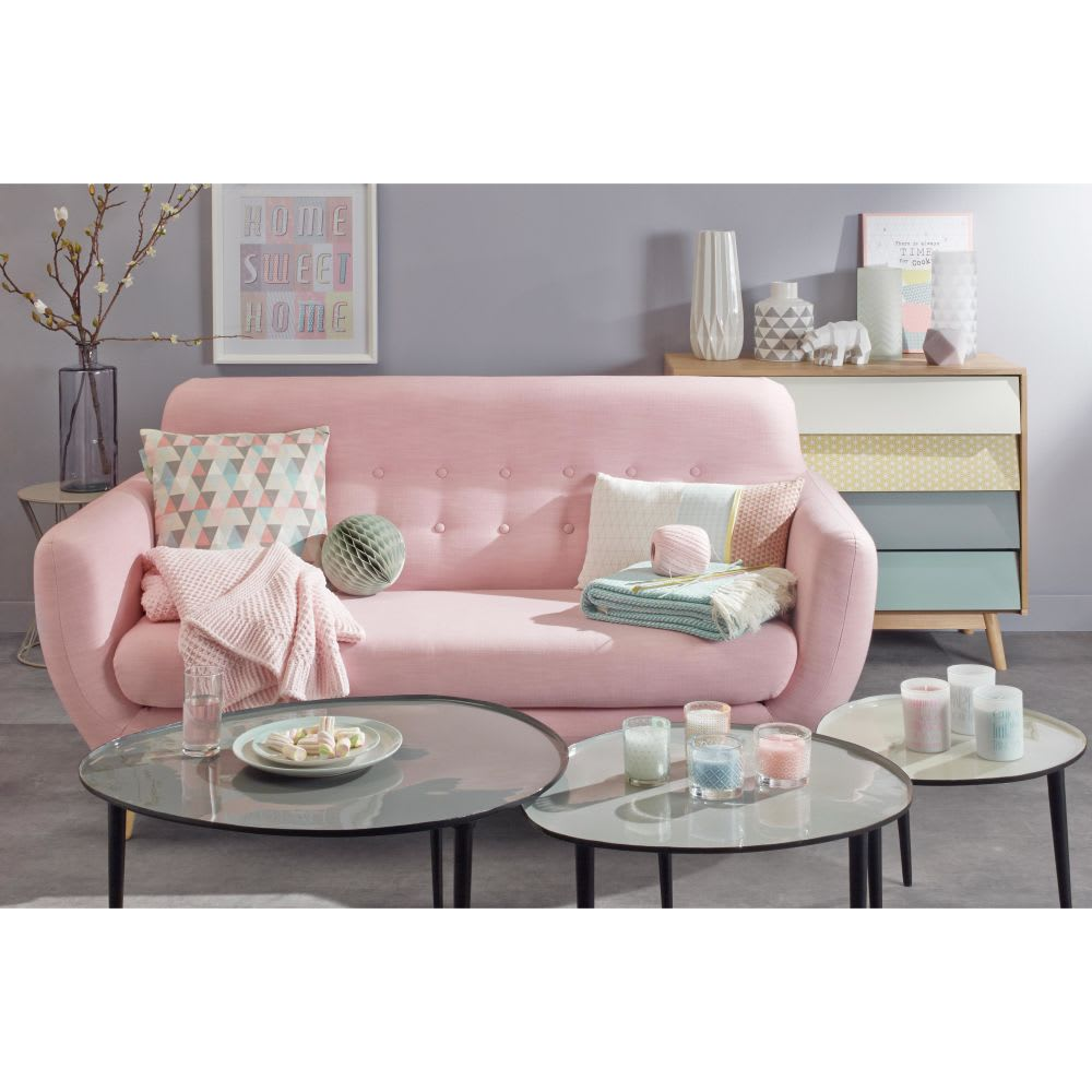 Scandinavian Pink Fabric 2 3 Seater Sofa Iceberg