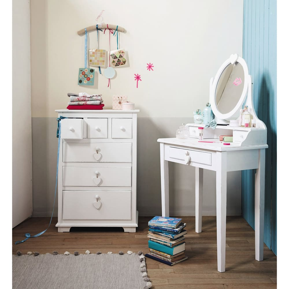 schminktisch mit 1 schublade wei valentine maisons du. Black Bedroom Furniture Sets. Home Design Ideas