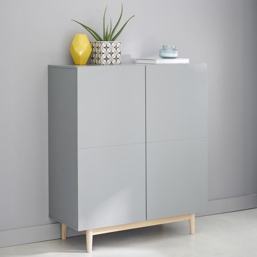schrank mit 2 t ren grau artic maisons du monde. Black Bedroom Furniture Sets. Home Design Ideas