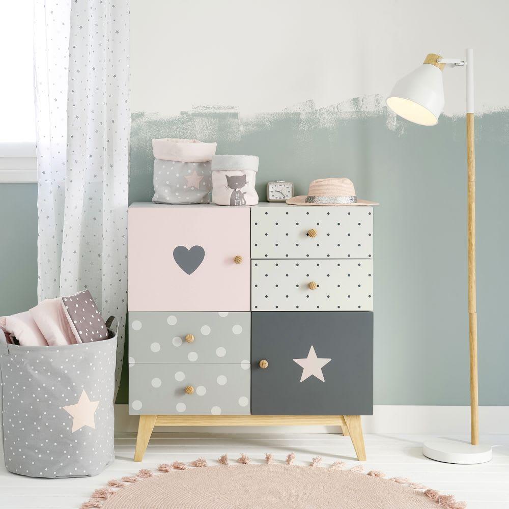 schrank mit 2 t ren und 4 schubladen grau und rosa april. Black Bedroom Furniture Sets. Home Design Ideas