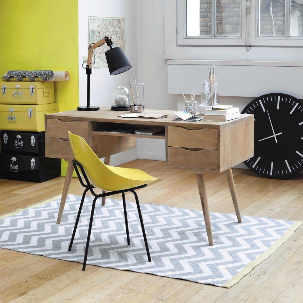 schreibtisch im vintage stil aus massivem mangoholz b 130. Black Bedroom Furniture Sets. Home Design Ideas