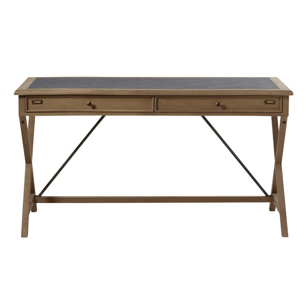 schreibtisch mit 2 schubladen aus massivem eichenholz levy. Black Bedroom Furniture Sets. Home Design Ideas