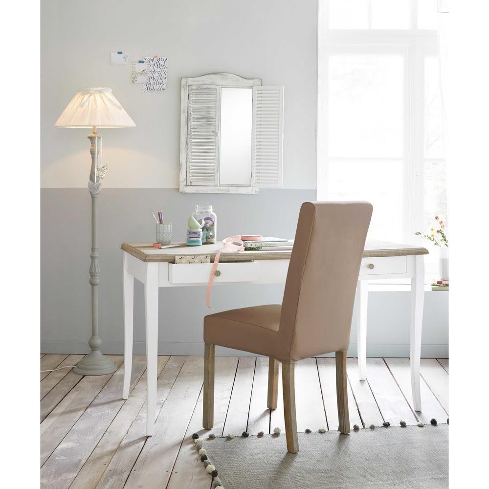 schreibtisch mit 2 schubladen wei angelique maisons du. Black Bedroom Furniture Sets. Home Design Ideas