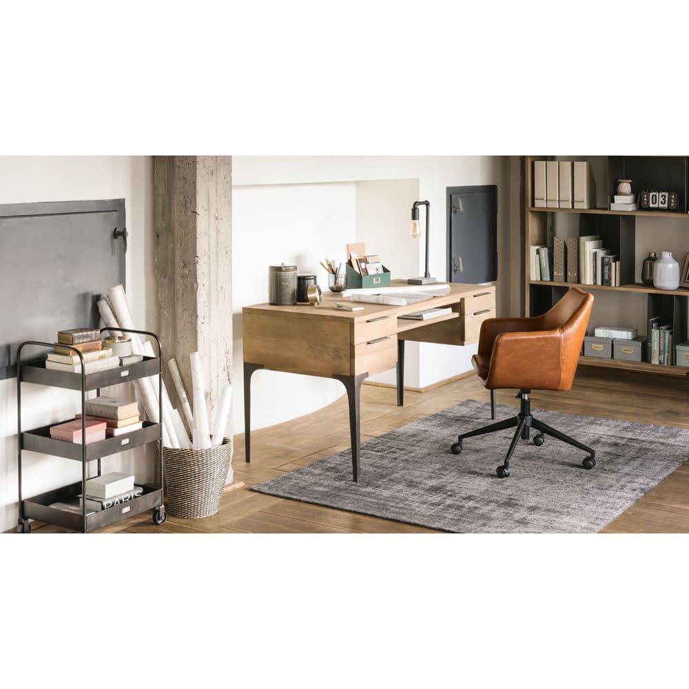 schreibtisch mit 4 schubladen aus mango und akazienholz. Black Bedroom Furniture Sets. Home Design Ideas