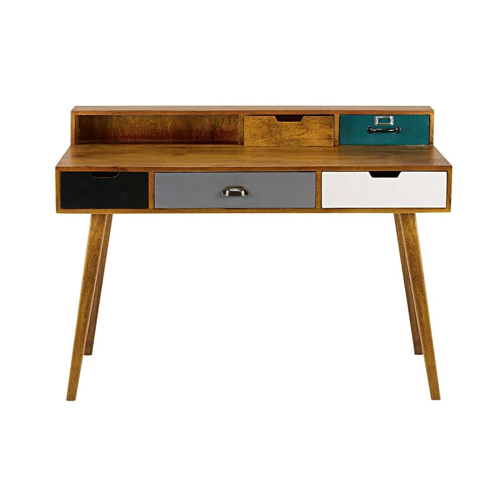 schreibtisch mit 5 schubladen aus massivem mangoholz. Black Bedroom Furniture Sets. Home Design Ideas