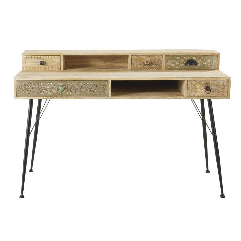 schreibtisch mit 5 schubladen aus massivem mangoholz und. Black Bedroom Furniture Sets. Home Design Ideas