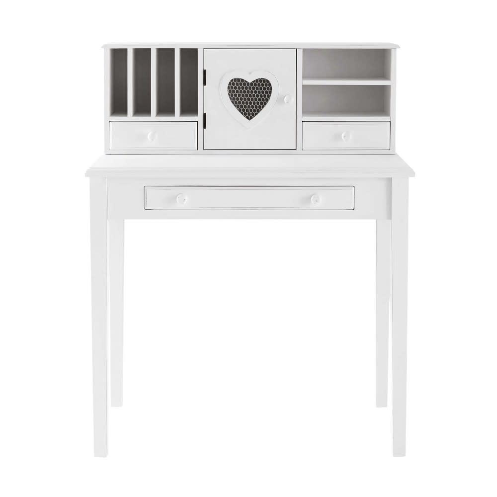 Schreibtisch-Sekretär mit 1 Tür und 3 Schubladen, weiß Valentine ...