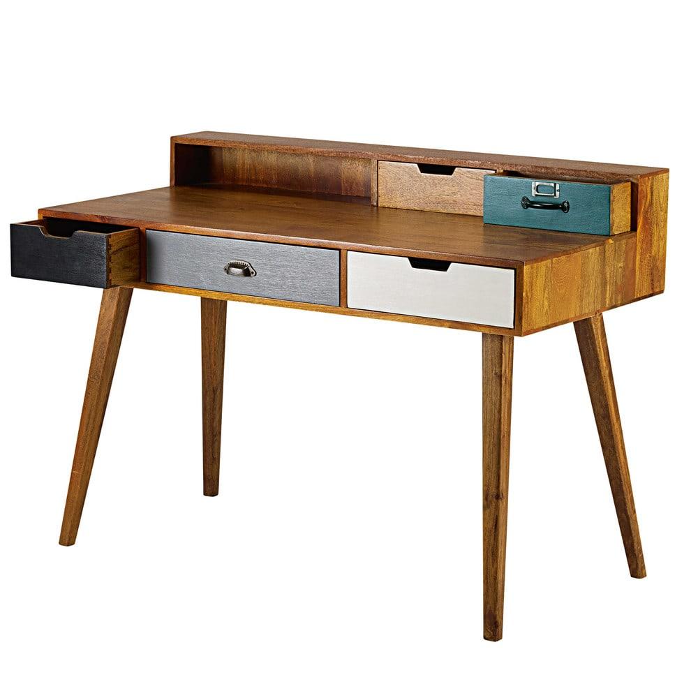 scrivania 5 cassetti in legno massello di mango picadilly